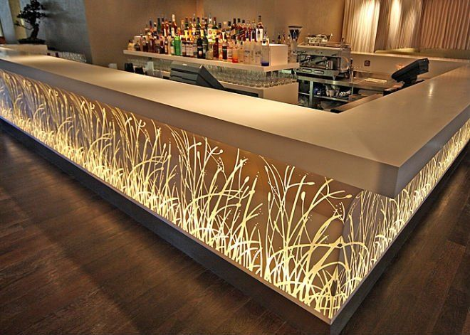 Bar salon restaurant corian acrylic solid surface lighted for Hotel decor for sale