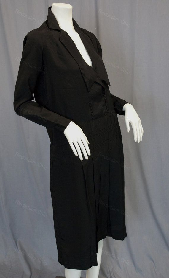 Vintage flapper dress in black silk with pintucked drop waist and V-neck circa 1920s from Recursive Chic @ recursivechic.com