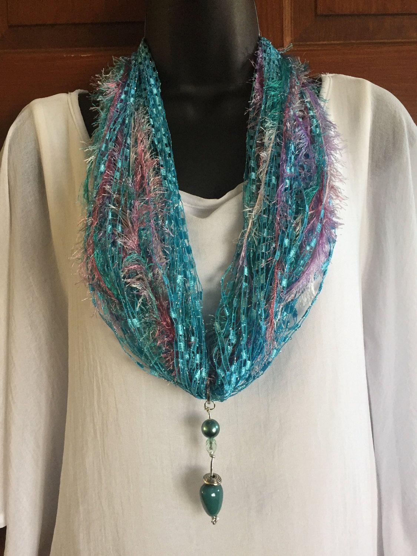 Trellis Yarn Statement Necklace Aqua Handmade Scarf Beads