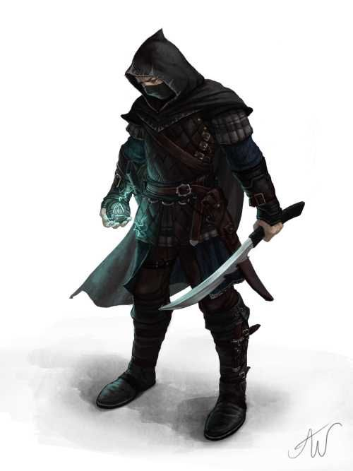 The Assassin Without a Name, courtesy of the talented Ashley Walters, complete with long knife (really a short sword) and negative energy grenade.