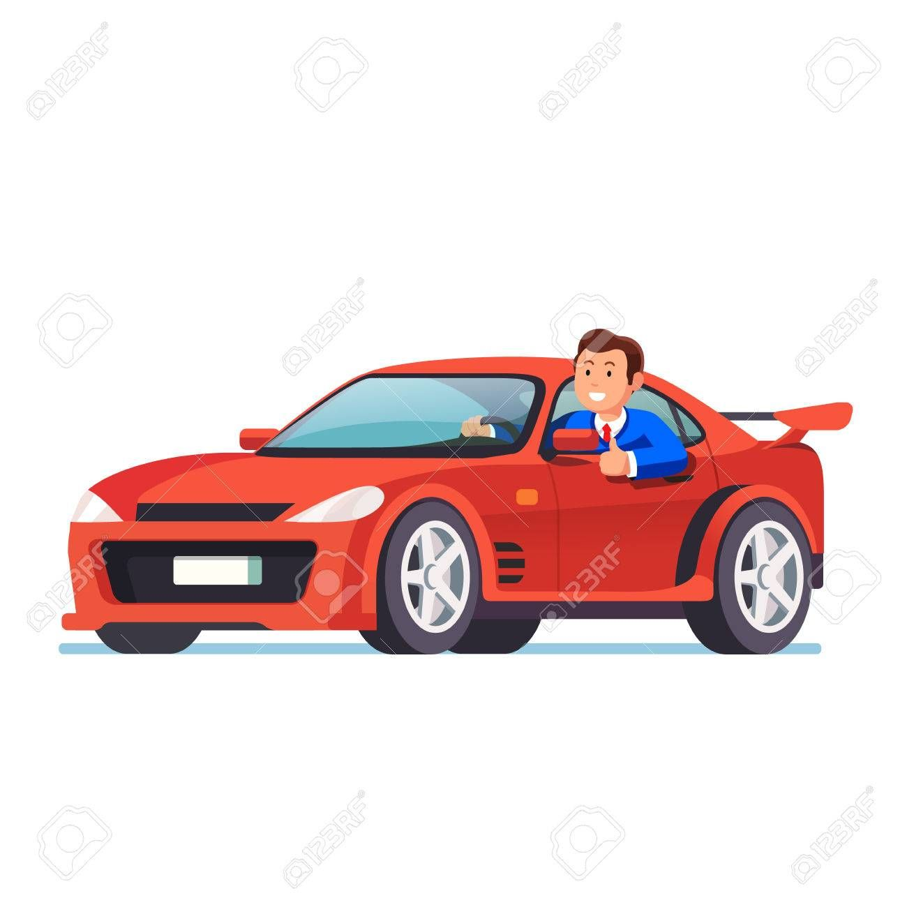 Smiling Rich Business Man Driving His Red Car Ad Business Rich Smiling Man Car