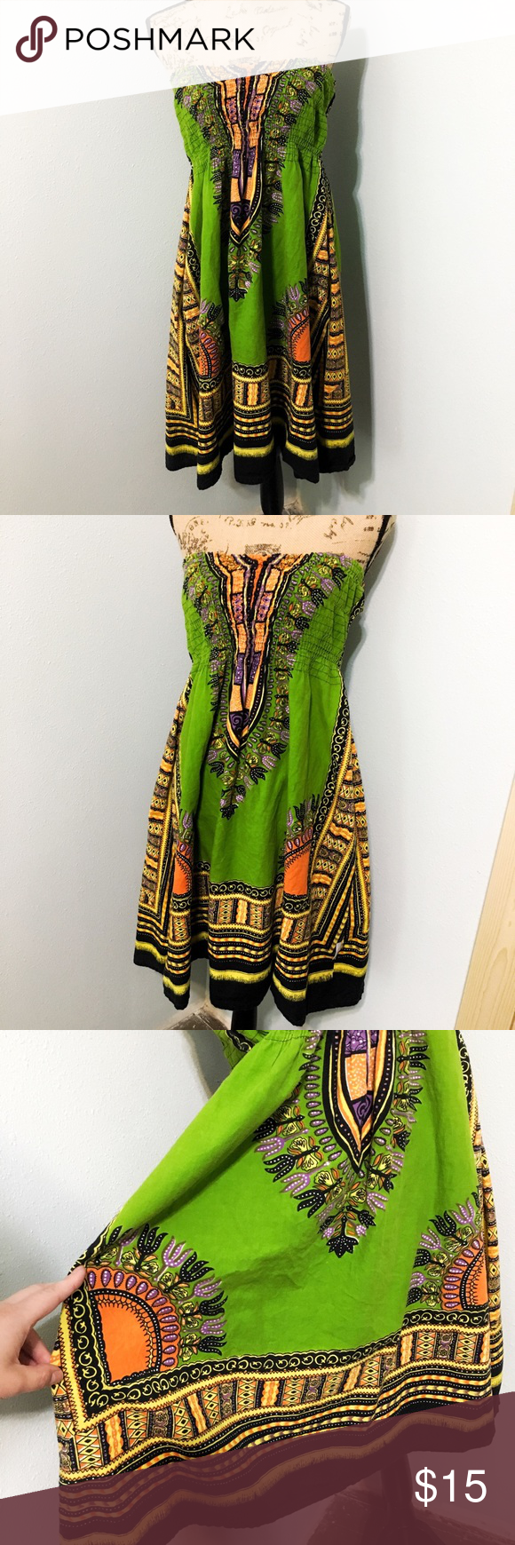 Colorful summer dress Beautiful African style summer dress Made in india  Missing tags but is very stretchy and could fit my 200 lb pregnant body! Does not include halter strap Advance Apparels Dresses Strapless #afrikanischerstil
