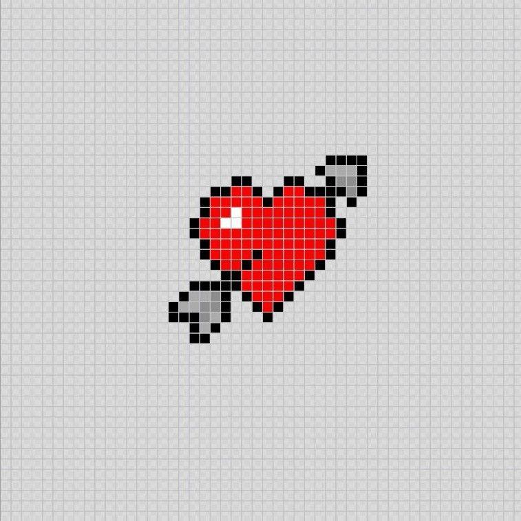 Corazon Flechado Pixel Art Patterns Dibujos De Puntos Punto De Cruz Angelitos Punto De Cruz