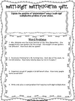 math worksheet : free multi digit multiplication quiz or review and answer key via  : 2 Digit By 2 Digit Multiplication Word Problems