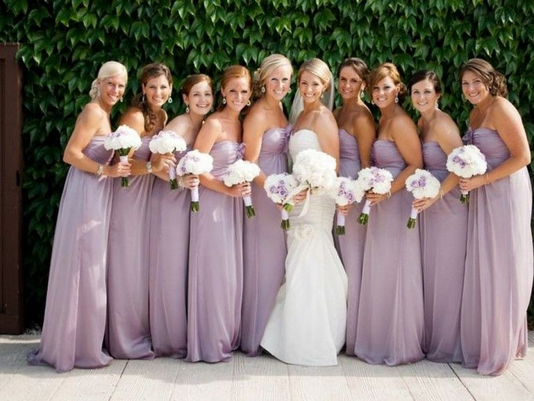 Light Purple Bridesmaids Dresses White Flowers