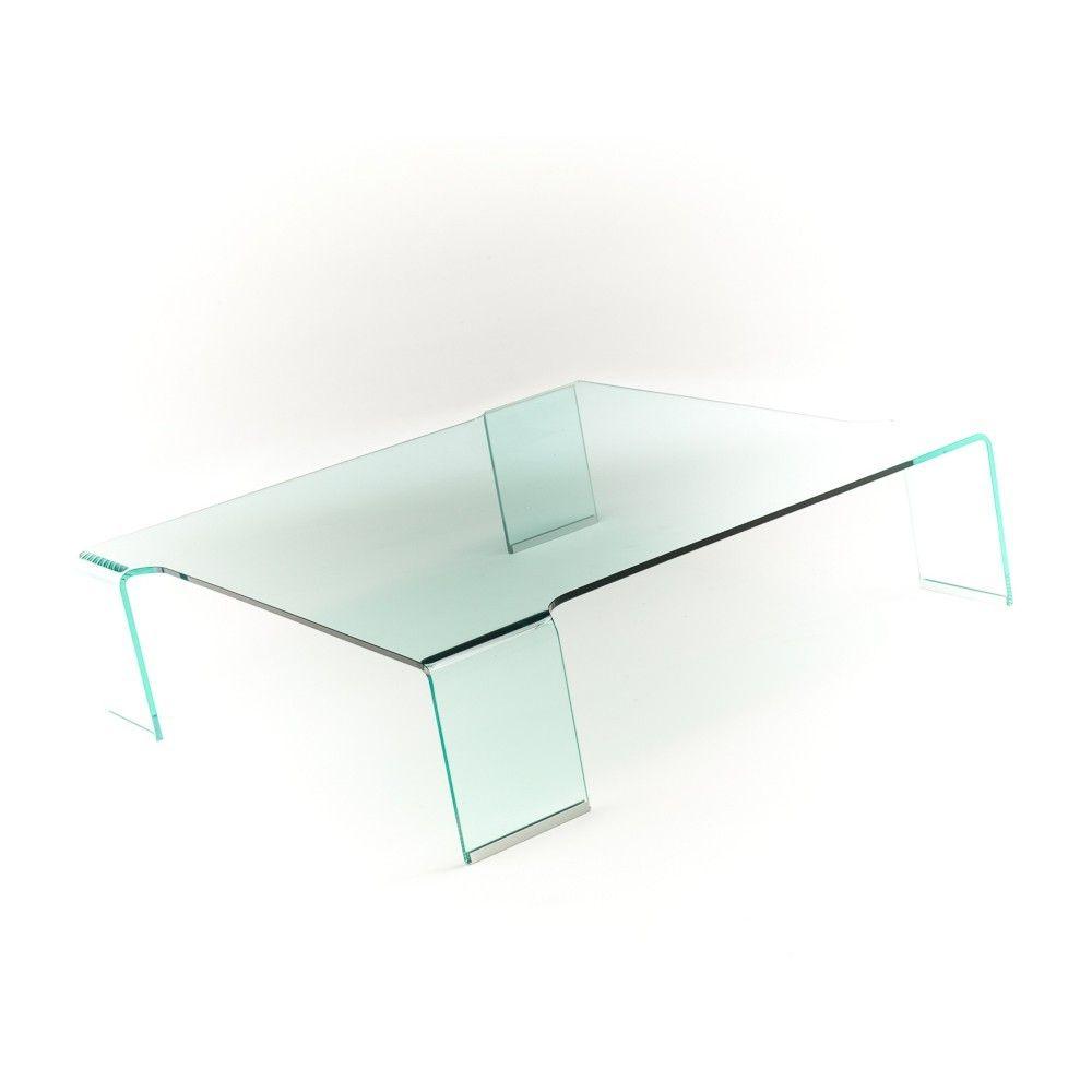 Tavolino da salotto in vetro curvato 100x100 cm Addison