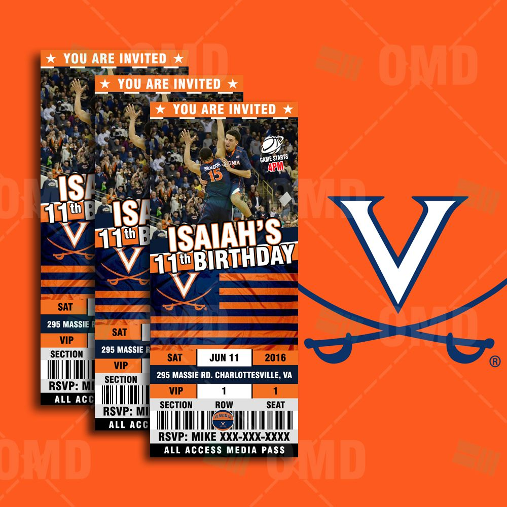 Virginia Cavaliers Basketball Invitations are great for Sports Fans ...