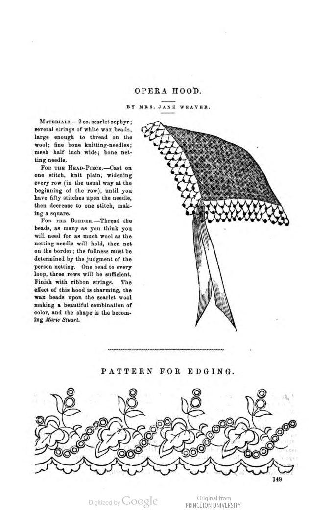 Opera hood Aug 1862 Petersons | headwear | Pinterest