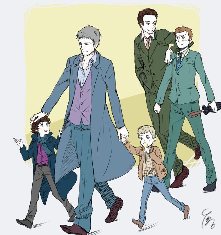 Sherlock Fanart  It's papa Lestrade! THIS IS SO ADORABLE!!!!! I MUST