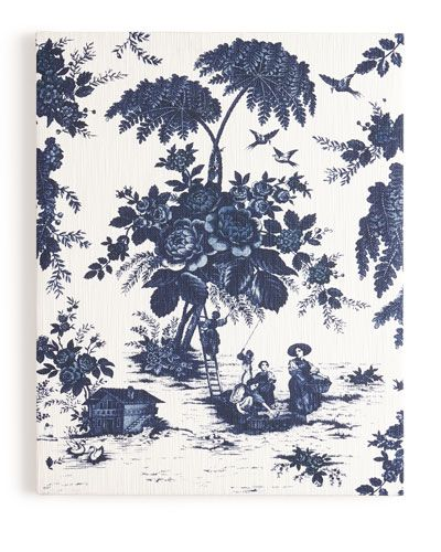 """Blue Toile"" Print on Canvas, 41""T"