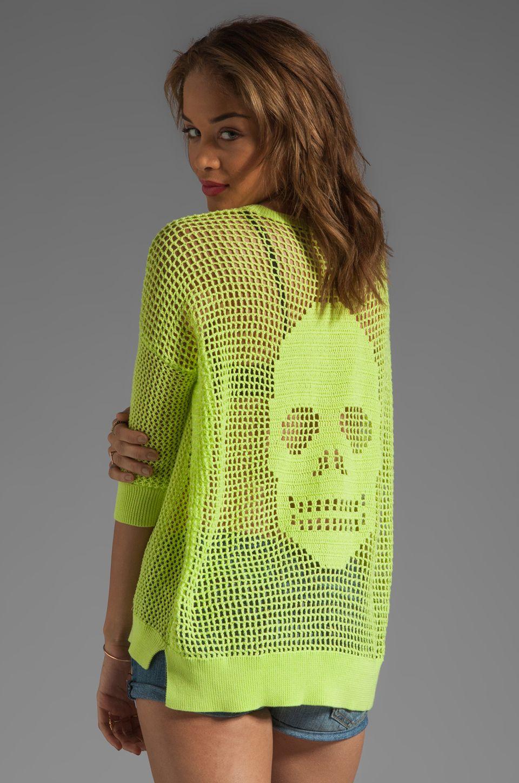 Autumn Cashmere Hand Crochet Skull Sweater in Glowworm & Glowworm ...