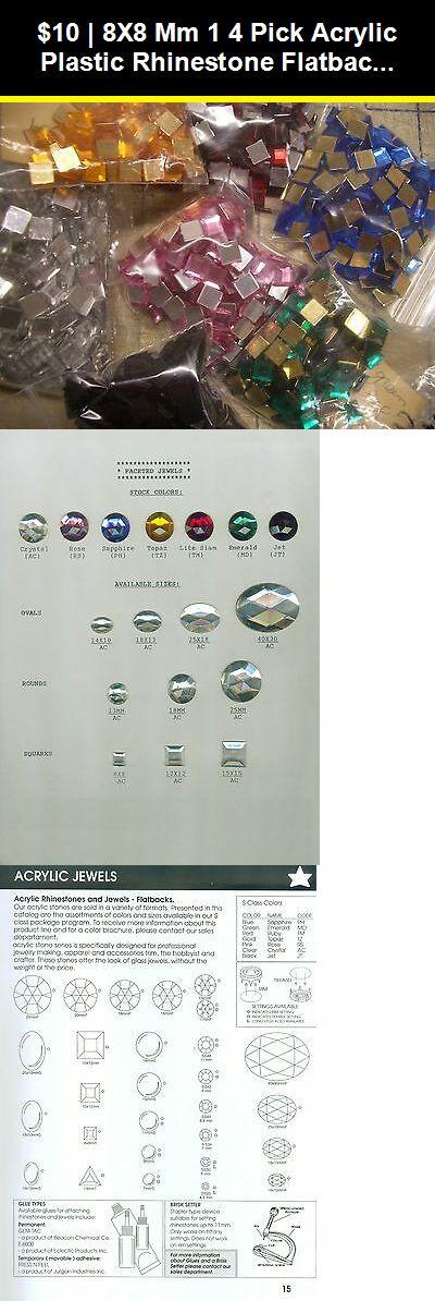 "8x8 mm 1//4/"" Pick Acrylic Plastic Rhinestone Flatbacks Reflective Faceted Glue On"