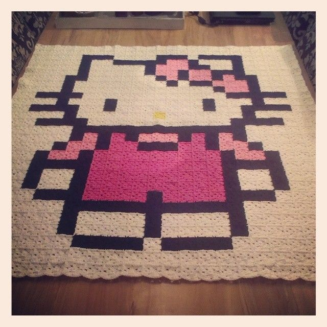 Hello Kitty crochet pixel blanket by lianne_de_vries - Pattern: http ...