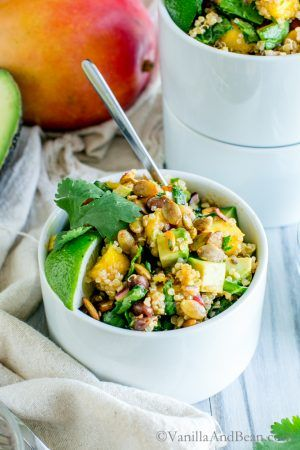 Quinoa Mango Black Bean Salad with Spiced Pepitas and Chipotle Lime Dressing