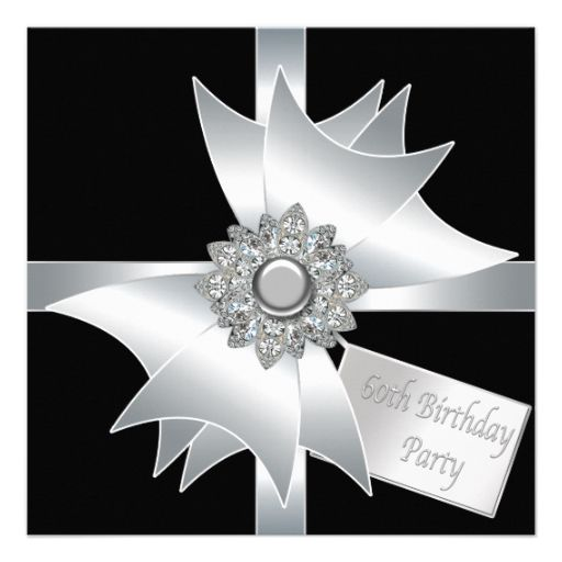 Black white diamond bow womans 60th birthday party card white black white diamond bow womans 60th birthday party card filmwisefo Image collections