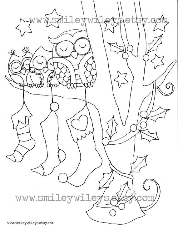 This Listing Is For A Set Of 3 Christmas Owl Colouring Pages The Drawings Are In PDF Format Letter Size And Ready To Download Right
