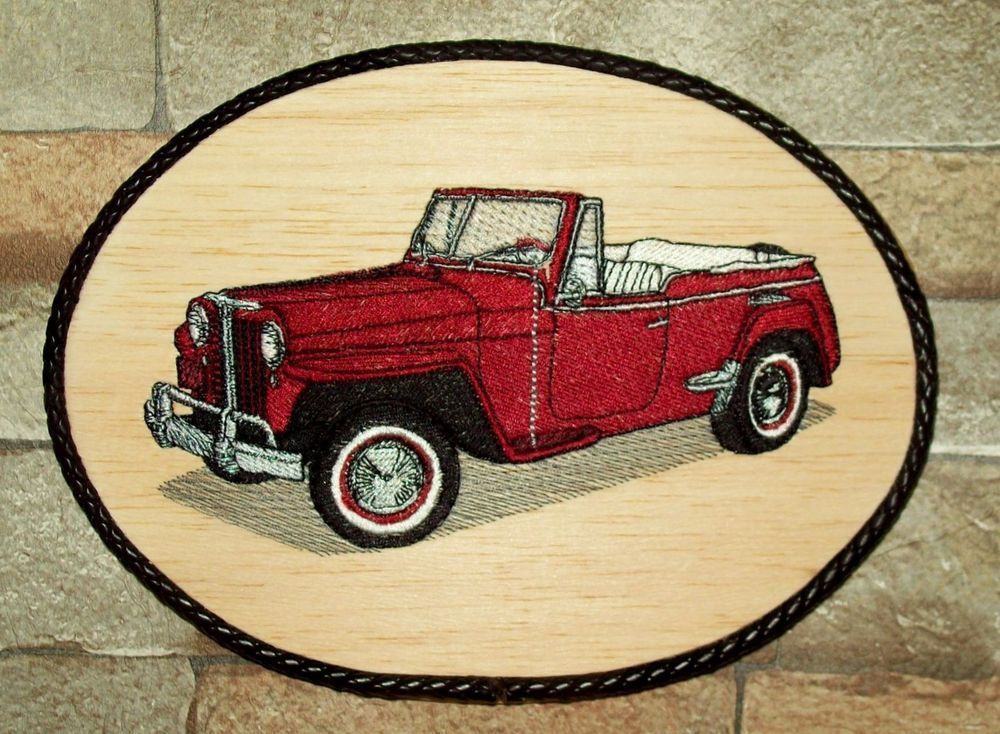 1948 Jeep Willy Handmade Classic Cars Wall Decor/Embroidery on Balsa ...