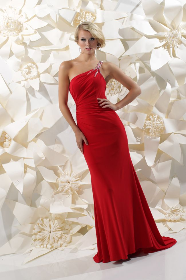 Red One Shoulder Gown 71232 By Sparkle Prom Shoulder And Dress Prom