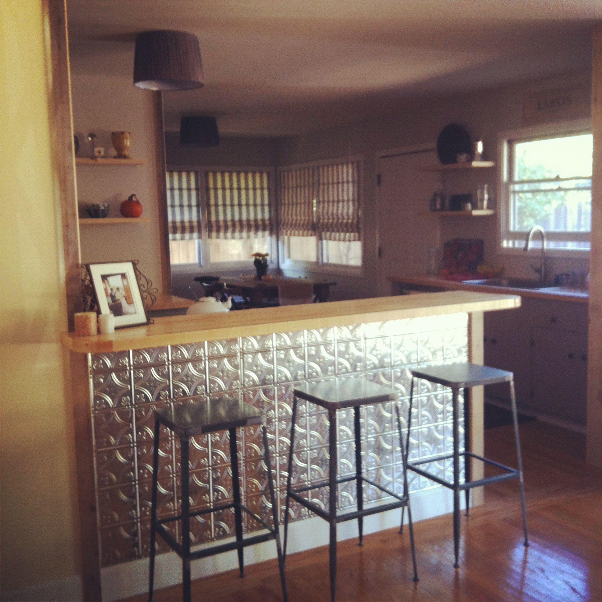 Kitchen Island Panel Ideas: Tin Panels On The Kitchen Bar. Love.