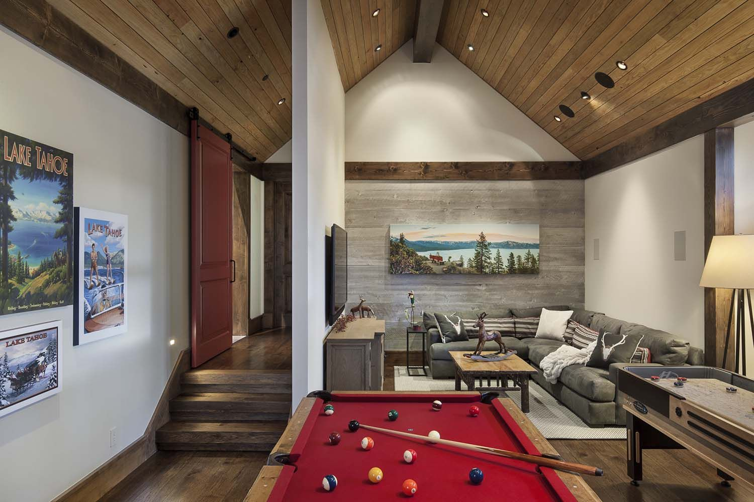 family game room family room rustic. Living Rooms · Gorgeous Rustic Mountain Retreat With Stylish Interiors In Martis Camp Family Game Room