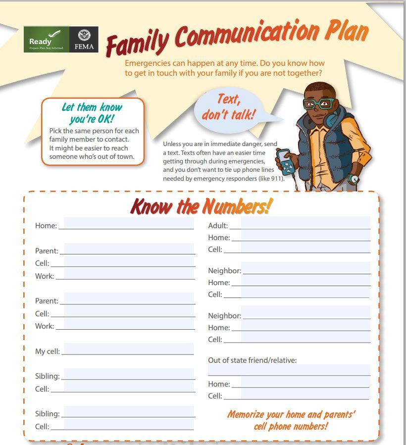 Family Emergency Communication Plan For Kids HttpWwwFemaGov