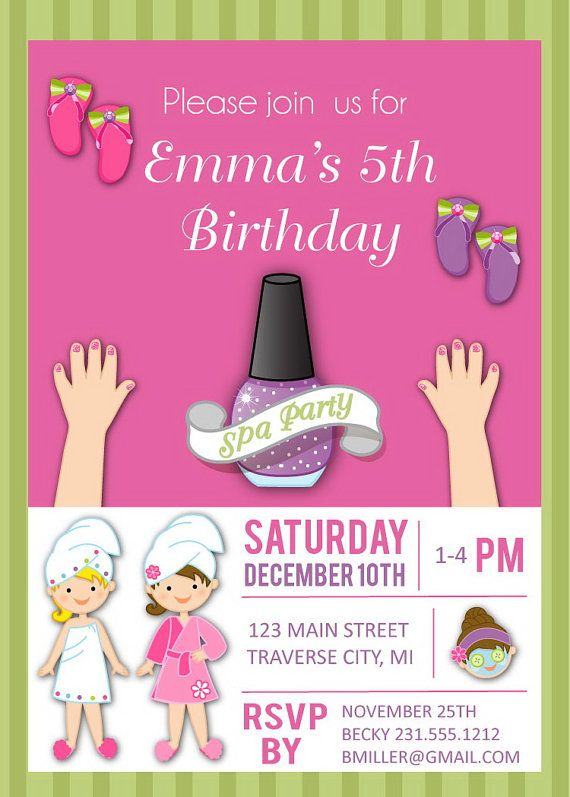 Spa Birthday Invitation for Girls Kids Birthday Party Invites – Girls Spa Party Invitations