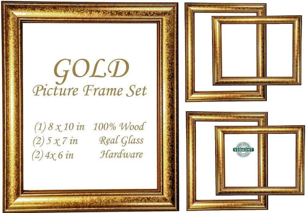 5 Gold Picture Frame Set~Photo Frame Set Gold Wood~Tabletop~Ornate ...