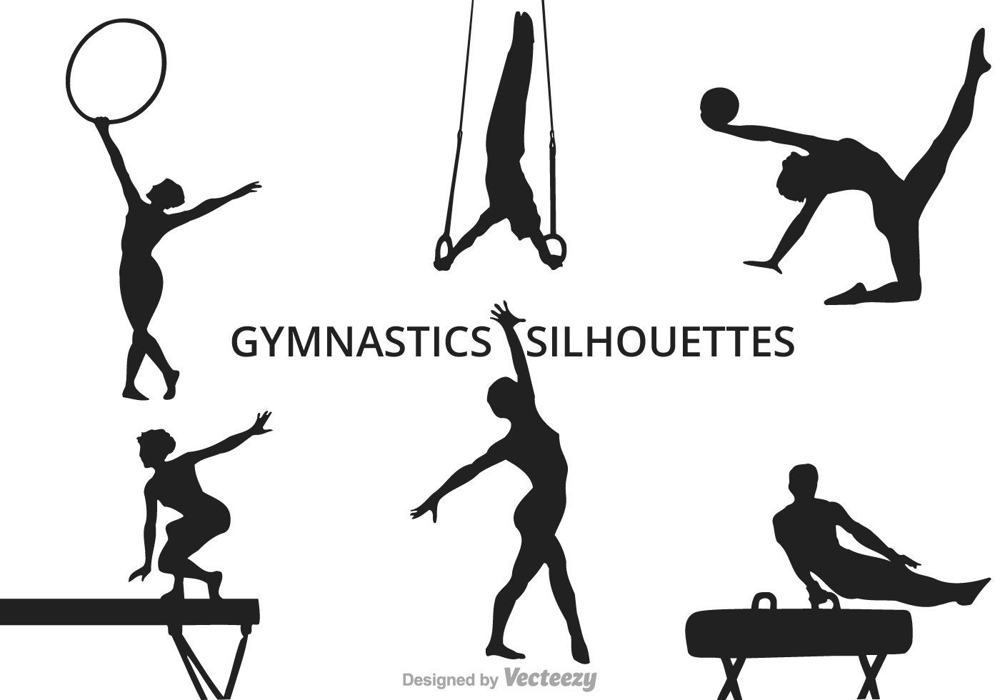 Free Silhouettes Of Several Gymnastics Moves Vector Pack
