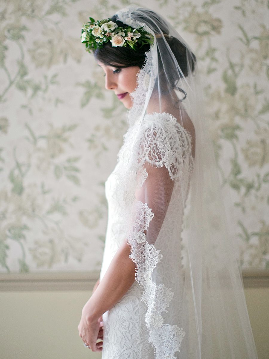Mantilla Lace Veil With Flower Crown Wedding Hairstyles
