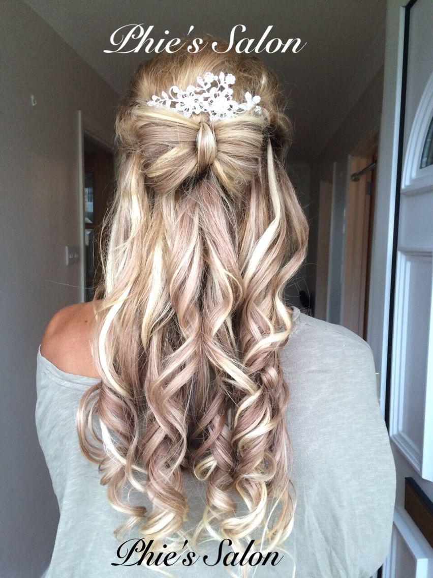 long hair prom bridal bride hair bow curly curls blonde