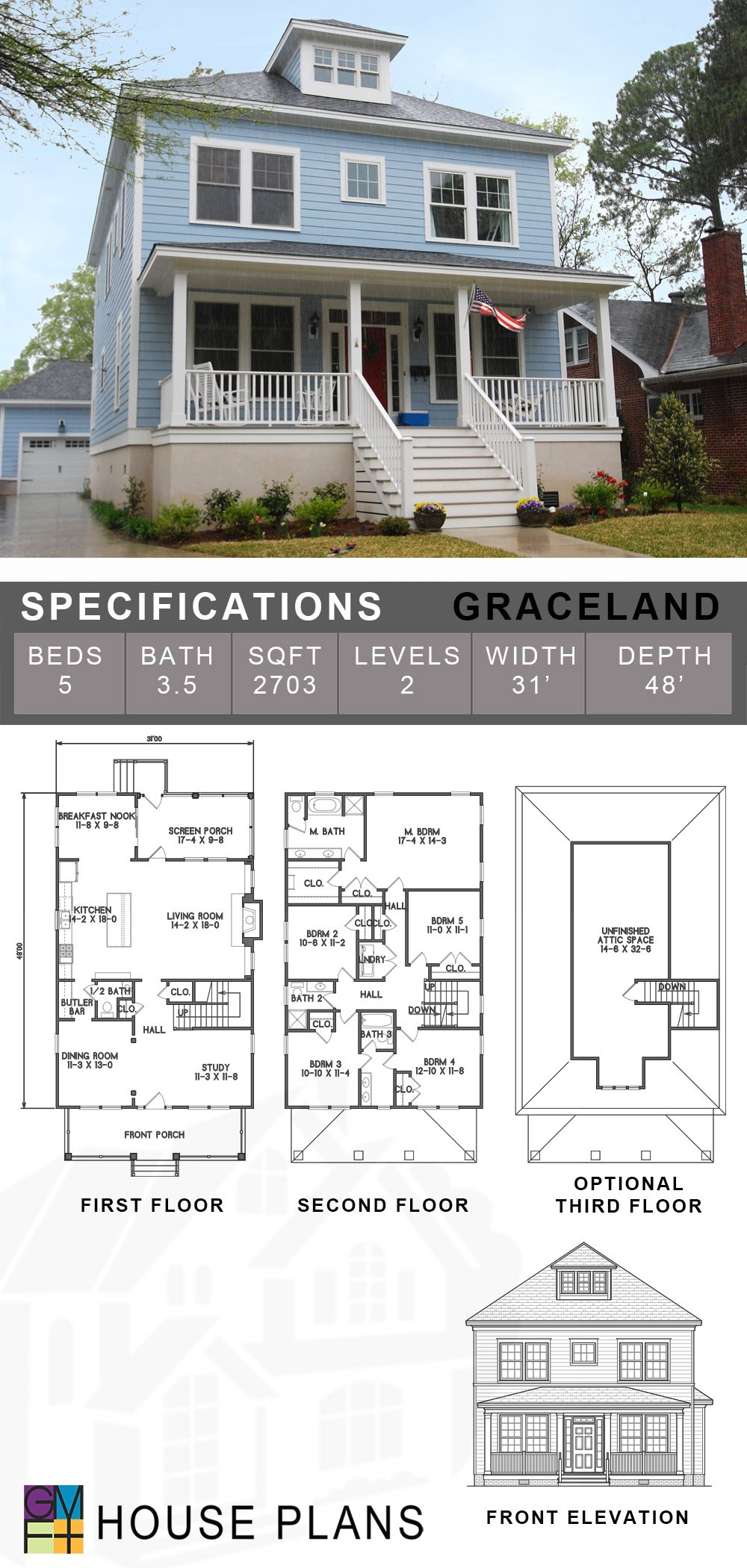 The Graceland model plan features a traditional style