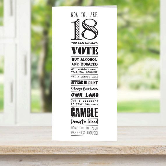 18th Birthday Card Now Youre 18 By AmandaWishartDesign On Etsy More