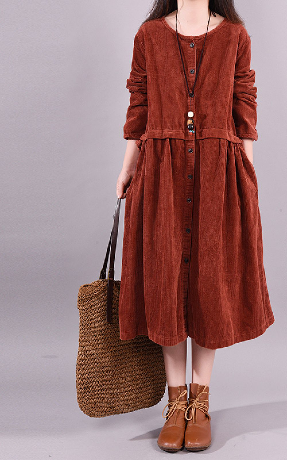 Https Www Buykud Com Collections August 21 New Products Buykud Long Sleeve Round Neck Corduroy Casual Midi Dress Midi Dress Casual Dresses Midi Dress [ 1600 x 1000 Pixel ]