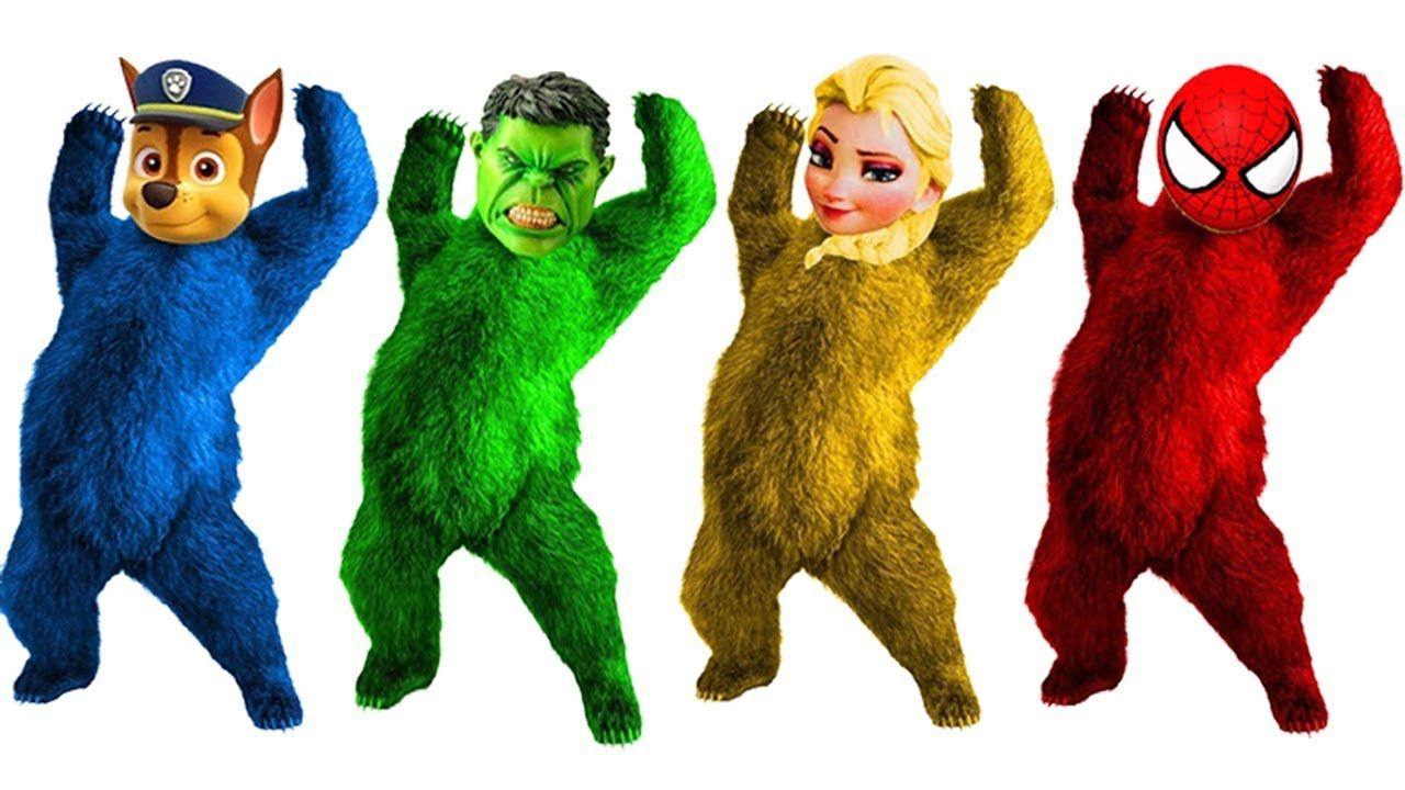 Learn Colors with Frozen Elsa Hulk Paw Patrol Angela Head Bear ...