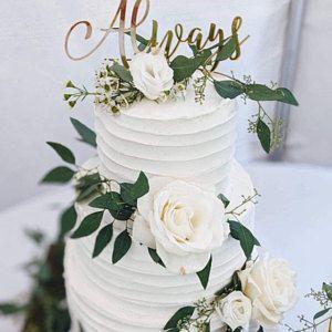 Wedding Cake Topper Always Gold Calligraphy Script