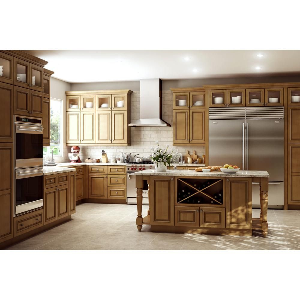 Home Decorators Collection Clevedon Assembled 24 X 90 X 24 In Pantry Utility 2 Double Door Utilty Kitchen Cabinet In Toffee Glaze U242490 Ctg The Home Depot Kitchen Remodel Home Decorators Collection Single Doors