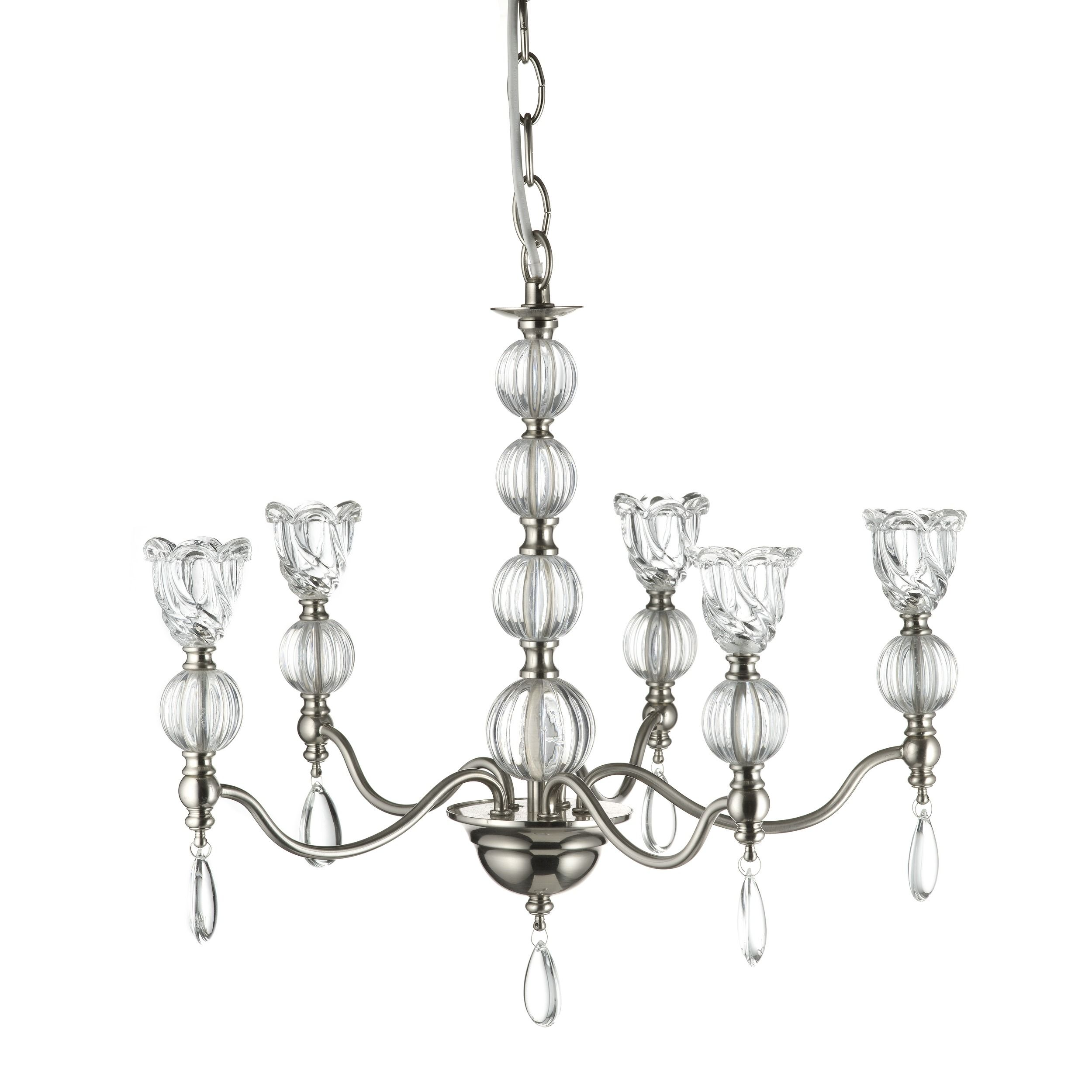 Crystal Chandelier Laura Ashley: Laura Ashley Majesty Glass And Chrome 5 Light Chandelier
