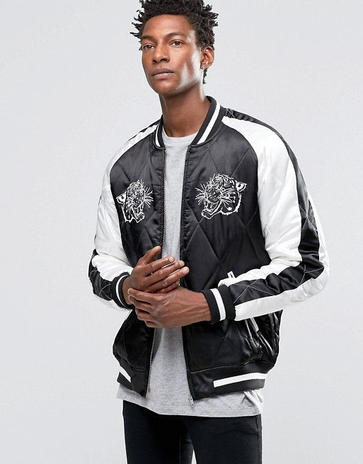 5a5d18ac3 Bomber Jacket with Tiger Embroidery in Black | Stuff to buy | Bomber ...