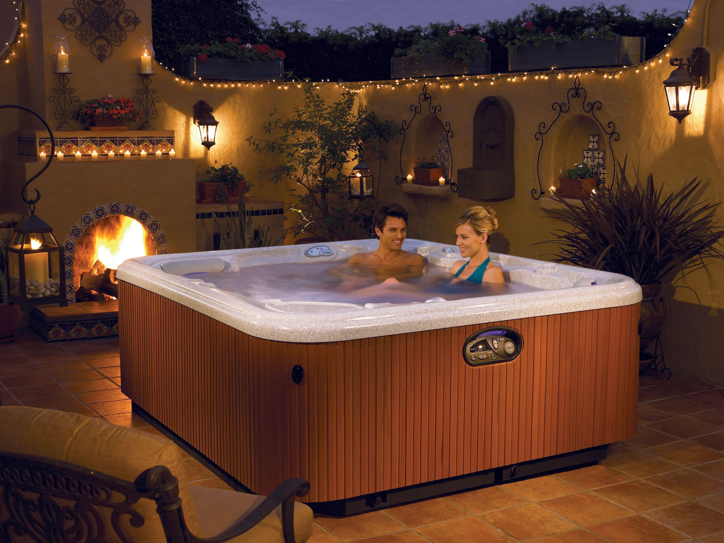Love How You Can Quickly Easily And Cost Effectively Transform Any Bla Or Plain Space Like This Thermospa Or Hot Tub Into A Spa Hot Tubs Hot Tub Buy Hot Tub