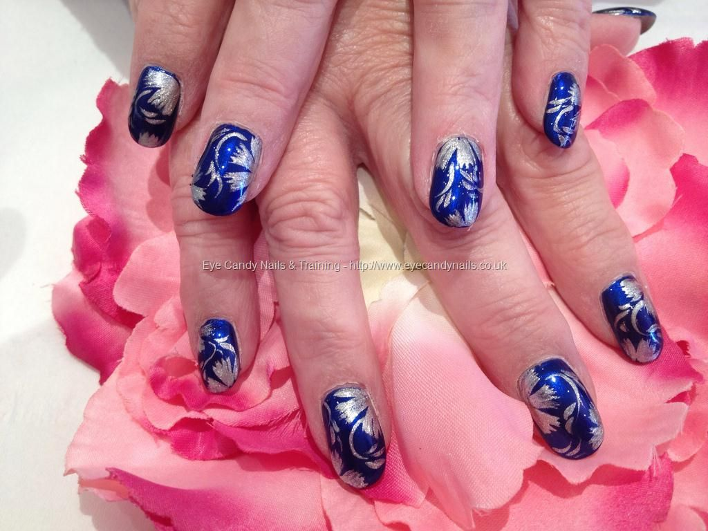 Blue with freehand nail art | Pimped Out Nails | Pinterest | Flower ...