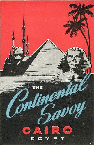 Vintage Continental Savoy Hotel, Cairo, Egypt luggage label