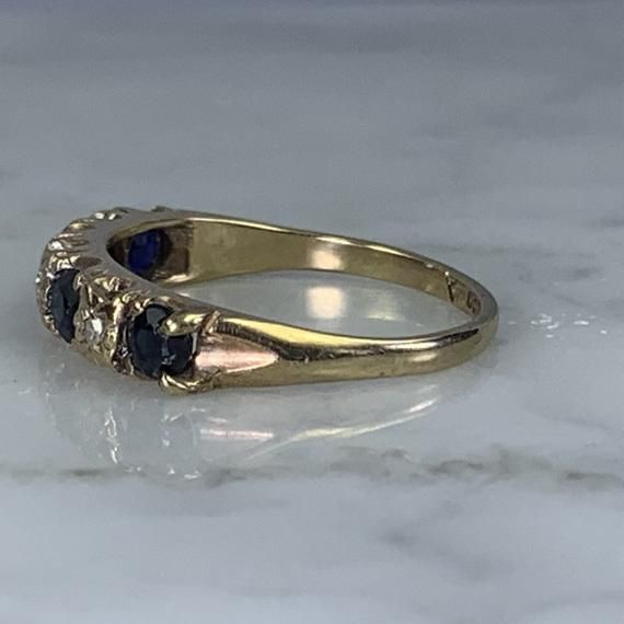 1970s Sapphire and Diamond Wedding Band Set #sapphirediamond #septemberbirthstone #5thanniversarygift #aprilbirthstone #uniqueengagement #weddingband #estatejewelry #sapphirering #sustainablevintage #yellowgold #stackingband #trendingjewelry #2020trend
