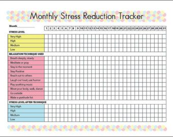 Bundle of Printable Stress Reduction Tracker with 10 ...