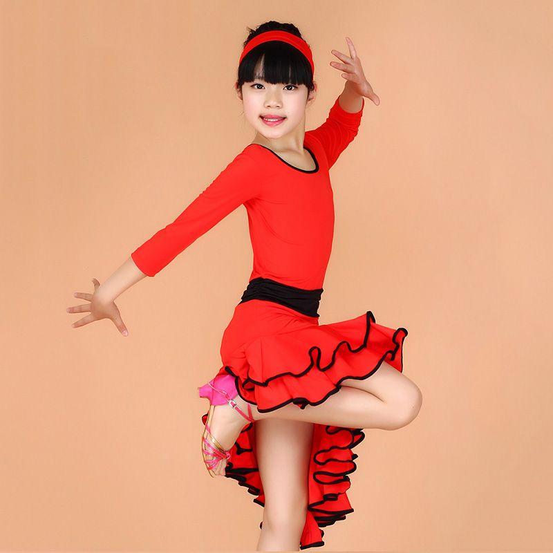 4e68f1d83 Girl Long Sleeves Latin Dance Dress Children Ballroom Dance Dresses ...