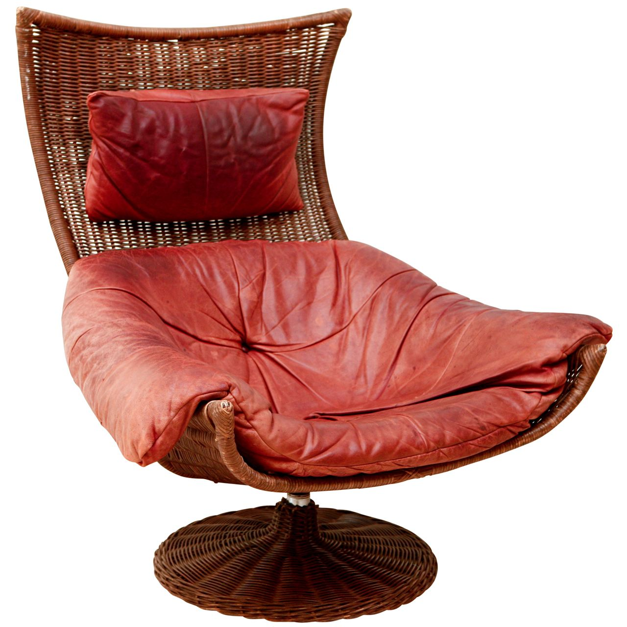Gerard van den Berg Leather & Rattan Swivel Lounge Chair | From a unique collection of antique and modern swivel chairs at http://www.1stdibs.com/furniture/seating/swivel-chairs/