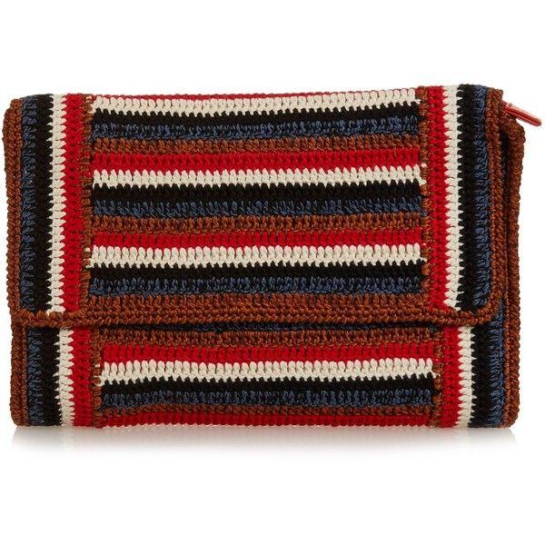 Rachel Comey Lea striped-crochet clutch ($170) ❤ liked on ...