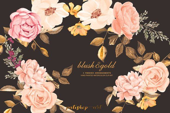Watercolor Blush Gold Roses Clip Art Clip Art Blush And Gold Art