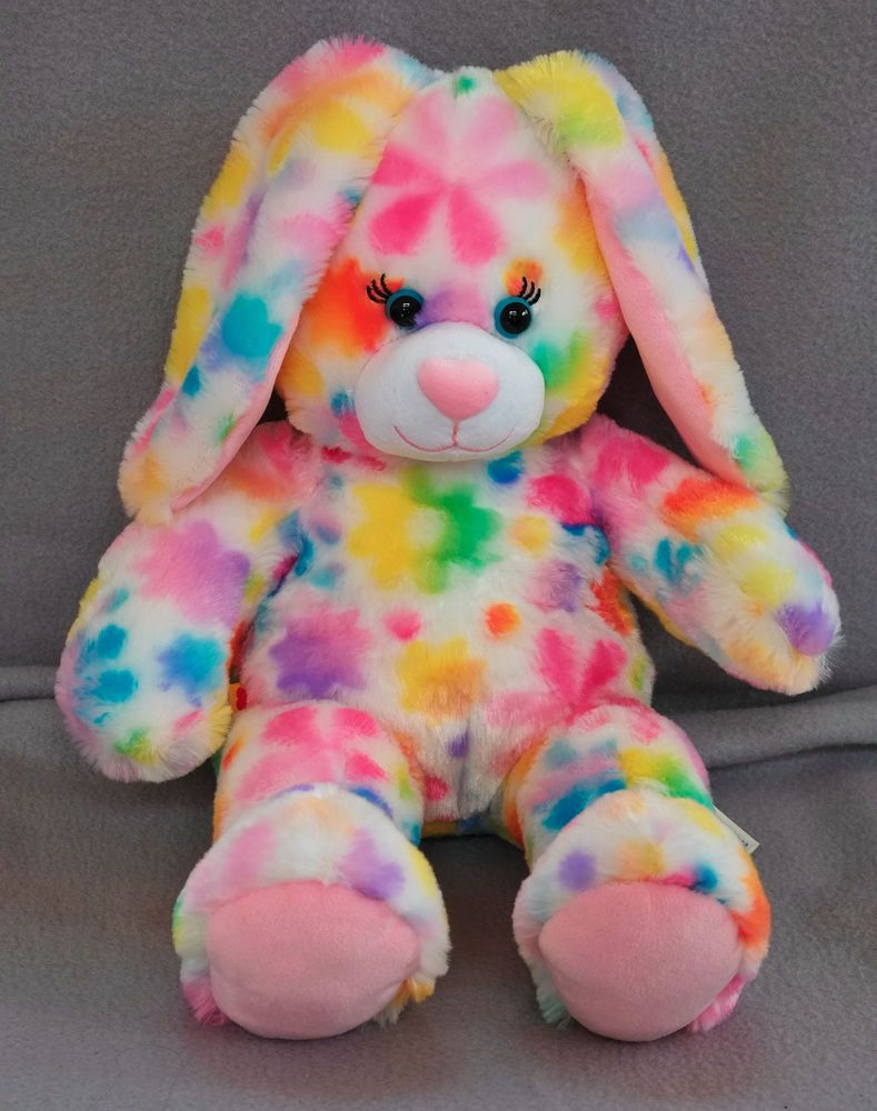 Build A Bear Rabbit Bunny With Rainbow Colored Flowers Very Soft