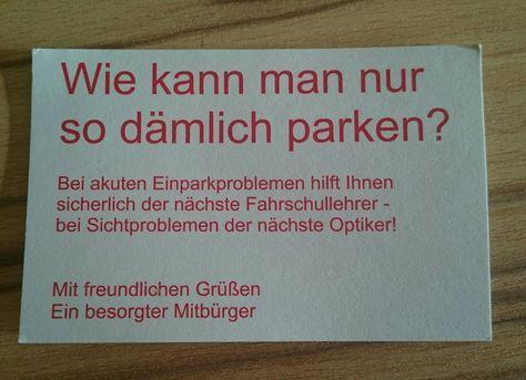 Visitenkarte Für Falschparker Lustige Sprüche Witzige