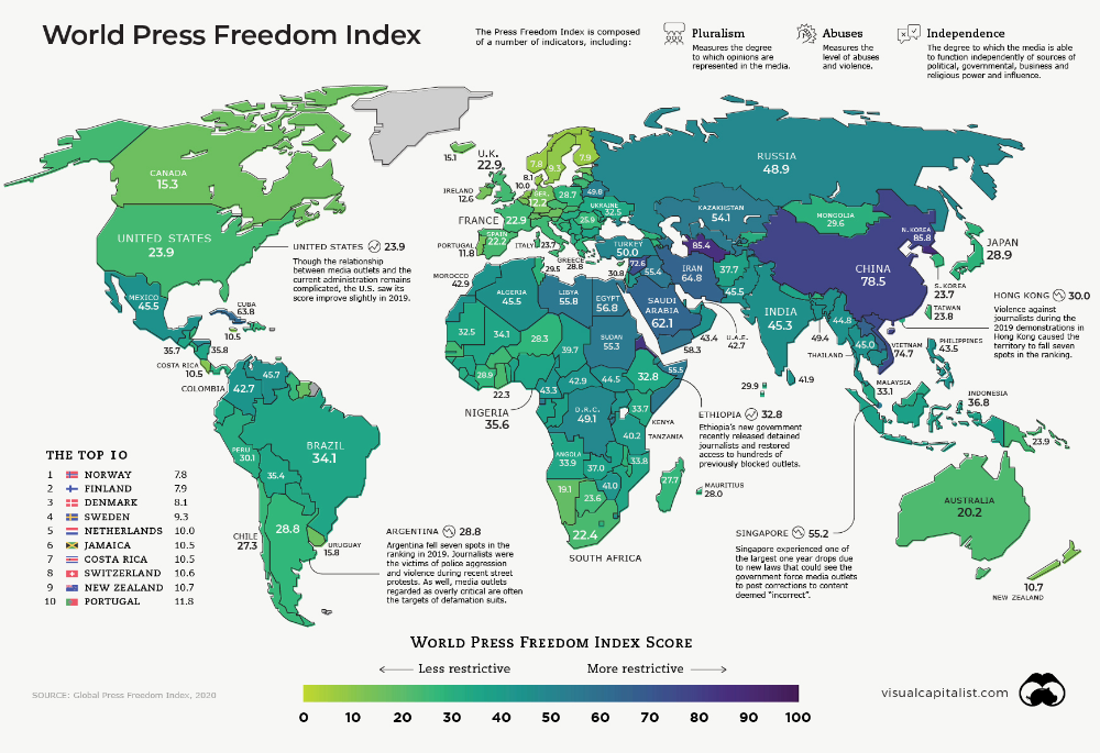 The State of Press Freedom Around the World Full Map in